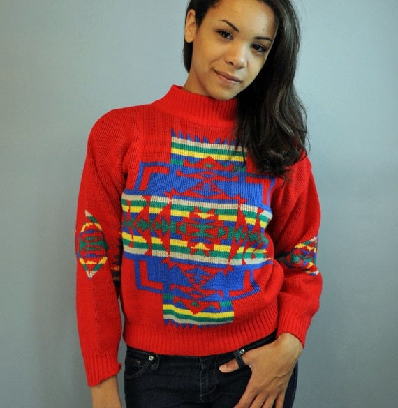 80s vintage womens sweater / AZTEC Tribal Design Pullover vintage sweater / Red Sweater XS / S