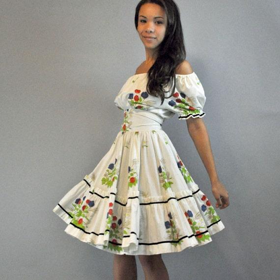 50s dress PARTY DRESS / full skirt ruffle dress / off shoulder peasant dress Nita Smith Original S/M Small Medium