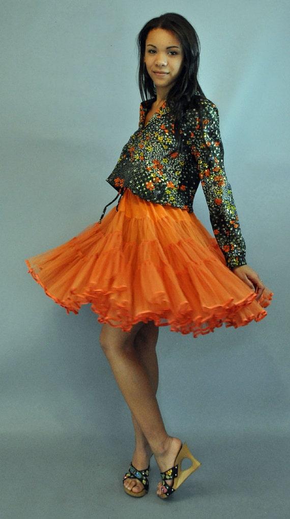 50s vintage ORANGE TULLE Petticoat / 2 Layer Ruffled Tutu Petti Skirt S / M small / medium