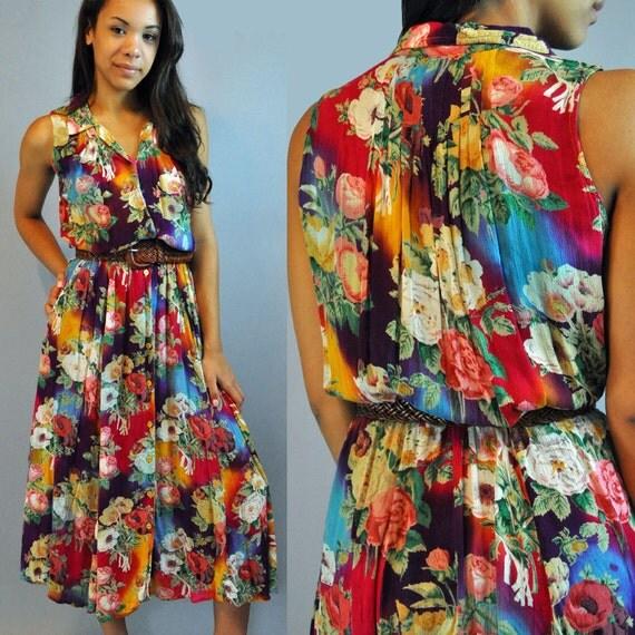 80s dress Sheer BOHEMIAN dress Festival MAXI dress / Sheer Gauze Ethnic floral dress / Made in India  S / M small / medium