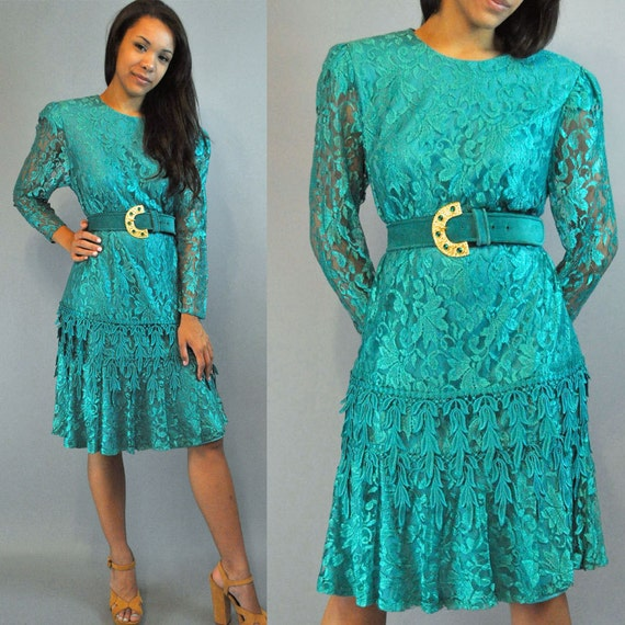 80s romantic LACE Party dress / Sheer Teal Ruffle Dress with Dripping Crochet Lace Trims S / M Small Medium