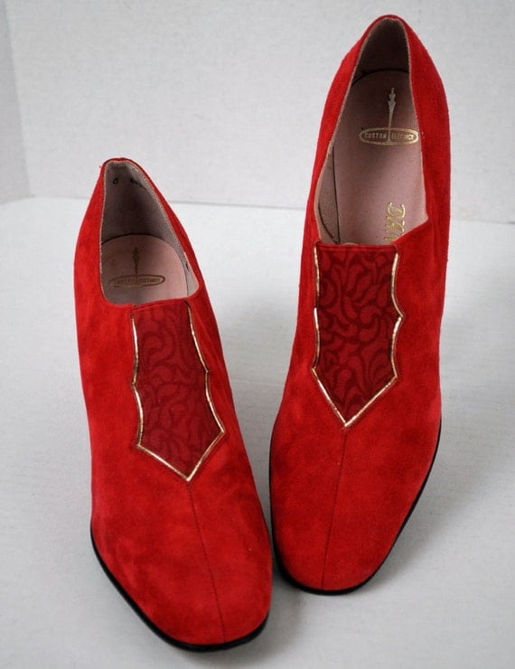 60s shoes Mod chic Dantonio NY RED suede LEATHER dress shoes pumps heels gold detail size 8 N