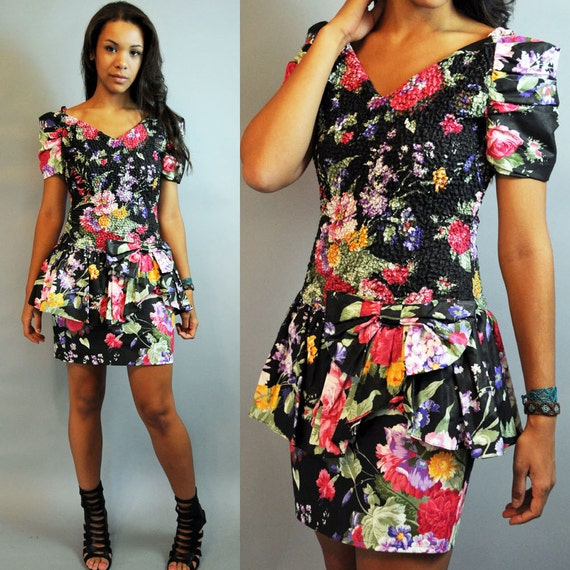 80s vintage peplum dress romantic FLORAL PARTY dress / Sun | 570 x 570 jpeg 96kB