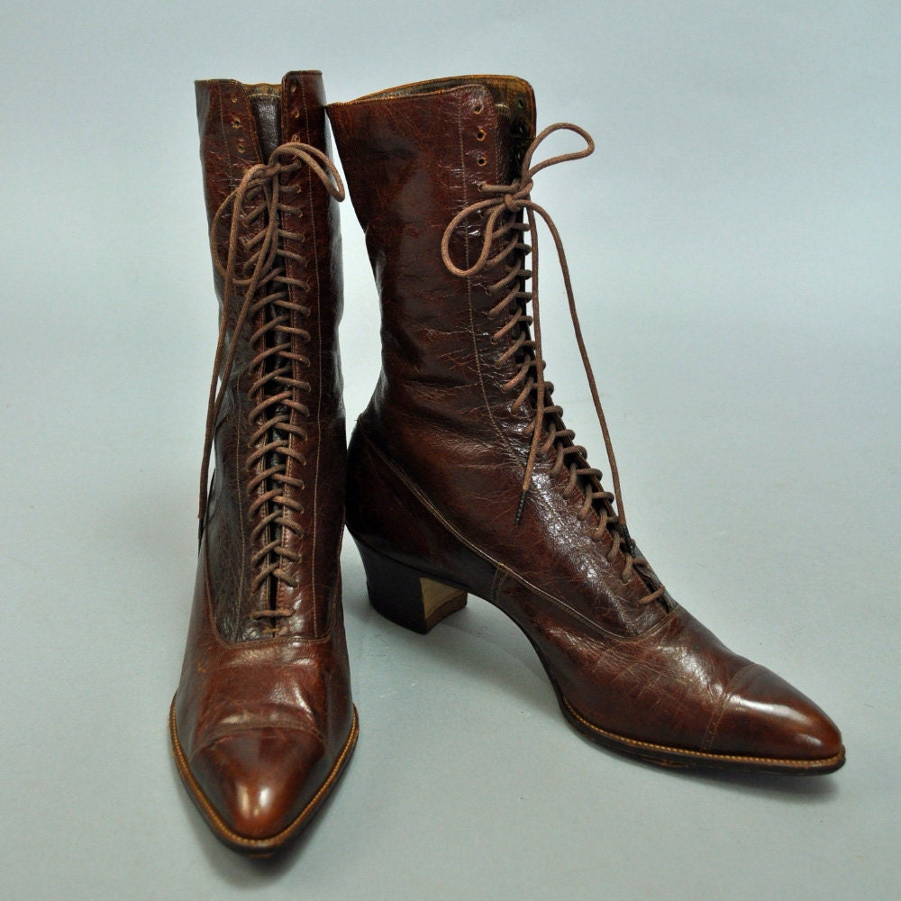 Amazing Vintage Brown Leather Boots Ankle Lace Up Womens Size 75