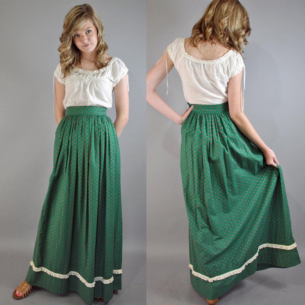 vintage 60s maxi skirt high waist green calico print dirndl