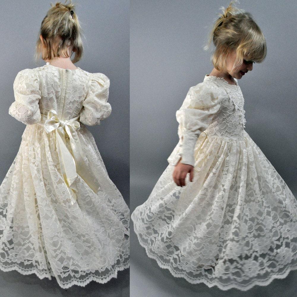 Little girls vintage victorian lace wedding bridal flower for Vintage victorian wedding dresses