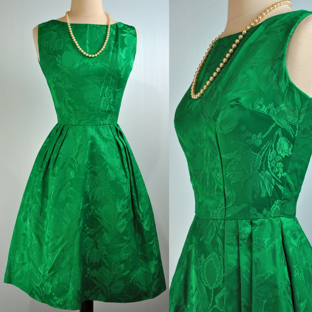 50s party dress vintage mad men emerald green dress 50s