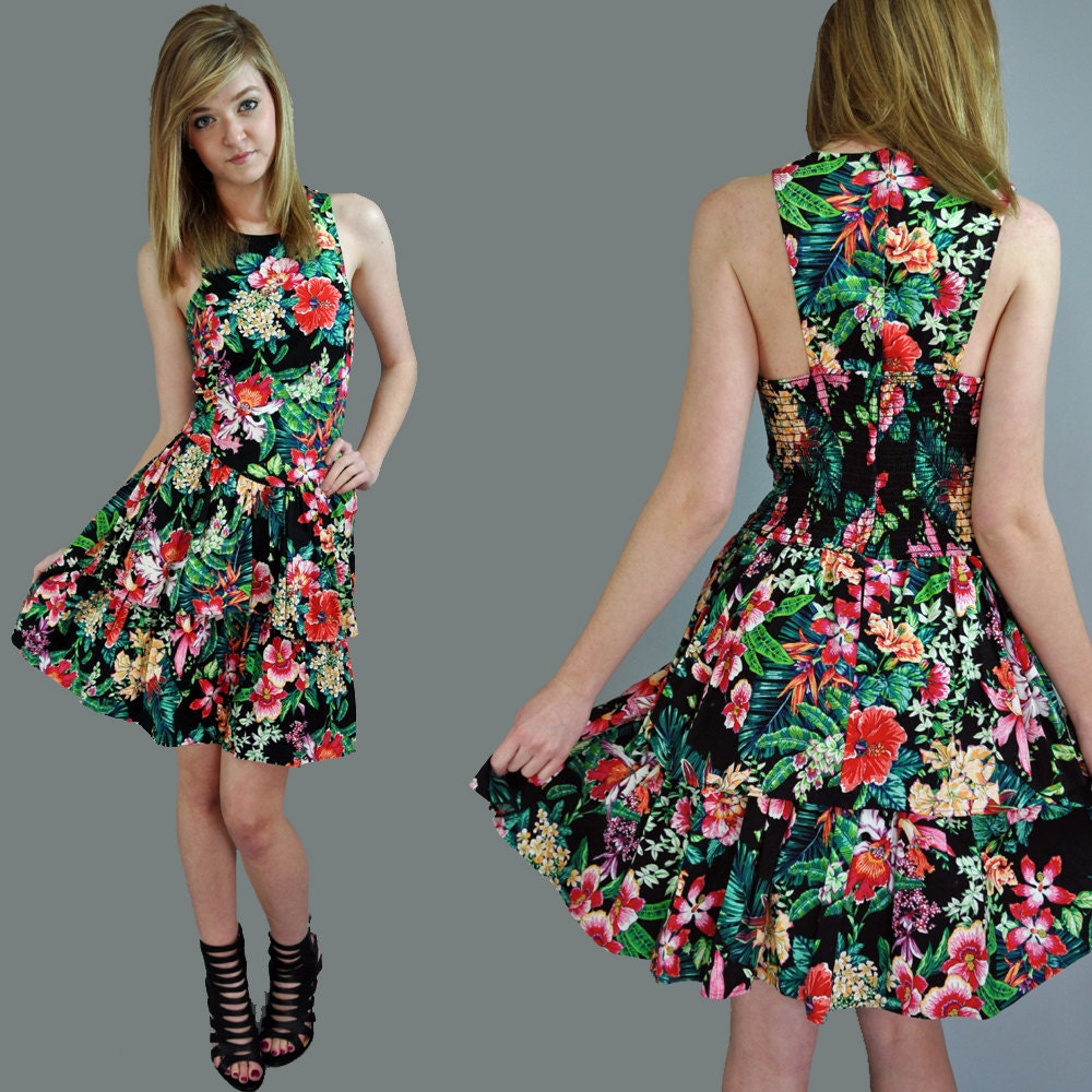 80s dress RACER BACK mini sun dress ruffle dress / tropical | 1000 x 1000 jpeg 223kB