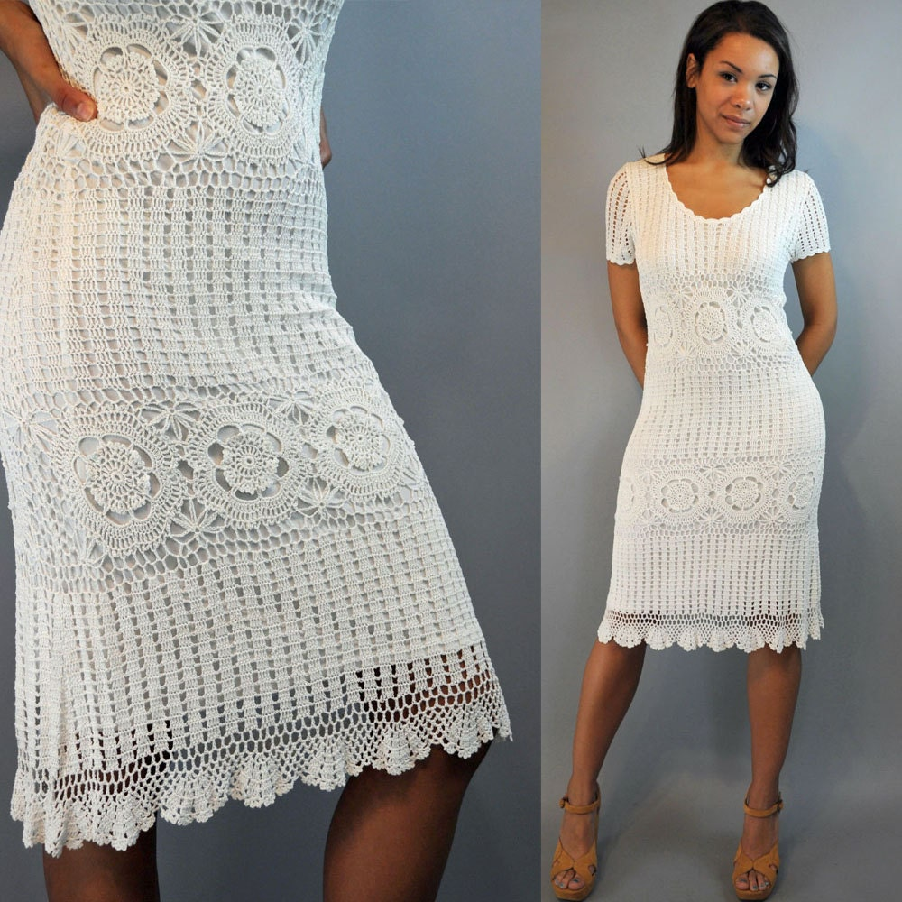 Vintage 80s Dress Crochet Dress White Crocheted Lace Dress