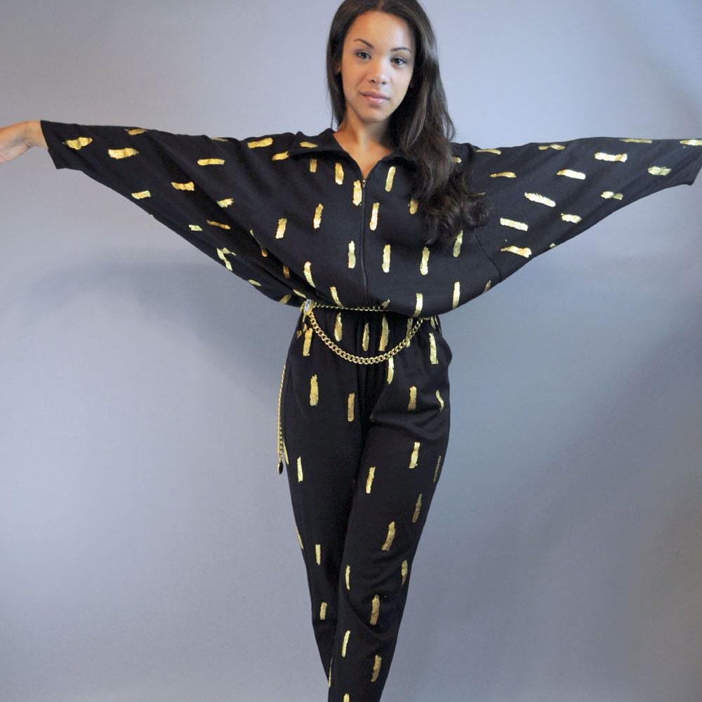 80s womens jumpsuit BLACK JUMPSUIT / Batwing Sleeve DISCO