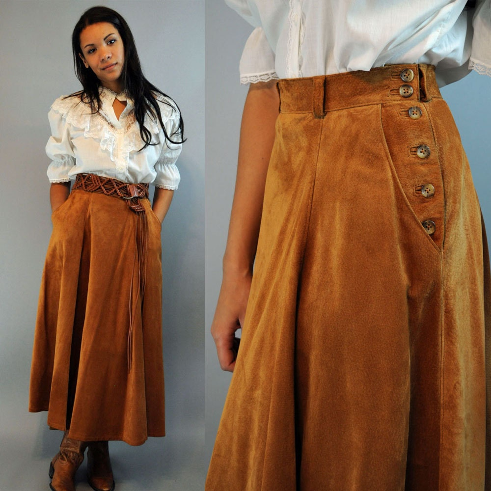 vintage 80s brown leather skirt high waisted skirt / LAURA