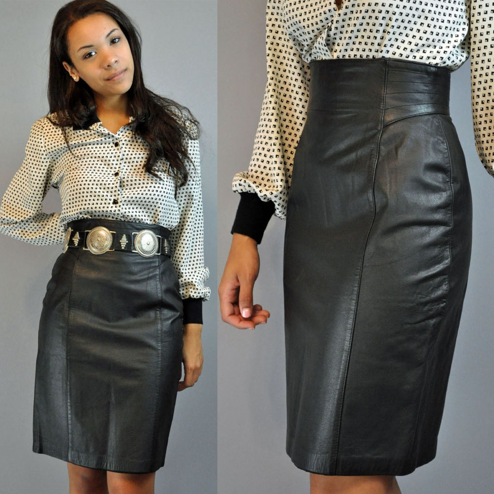 80s skirt high waist skirt / BLACK LEATHER skirt / vintage