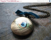 Peacock Locket Necklace, Silk Screened Locket, Peacock Eye, Antiqued Brass Chain - Peacock Feather