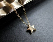 Gold Star Necklace, Gold Plated Star, 14K Gold, Night Sky, Twilight - Star Bright