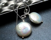 Freshwater Pearl Earrings, Cream Freshwater Coin Pearls, June Birthstone, Sterling Silver - If I Had A Coin