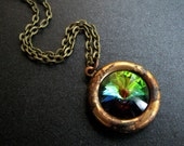 Crystal Necklace, Swarovsli Crystal Rivoli, Rainbow, Vitrail Jewel, Antique Brass Chain - Through the Looking Glass