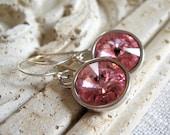 Pink Crystal Earrings, Swarovski Crystal Rivoli Clear Jewels, Light Pink Earrings, Sterling Silver Earwires - Pink Ice