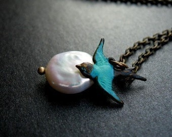 Teal Sparrow Necklace, Bird Charm, Freshwater Coin Pearl, Antique Brass Chain - Come Away