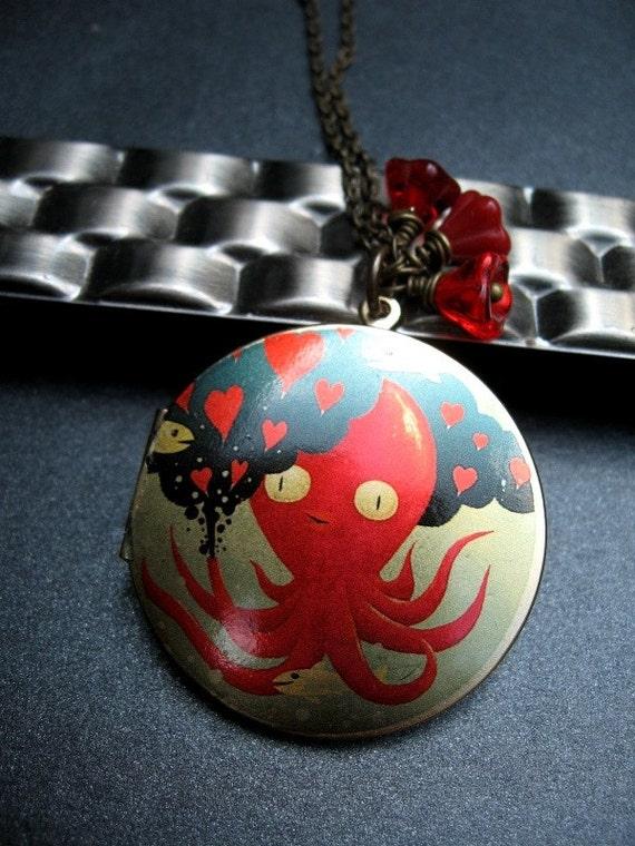 Locket Necklace, Octopus Locket, Under the Sea, Flower Beads, Silk Screened Locket, Antiqued Brass Chain - Octopus