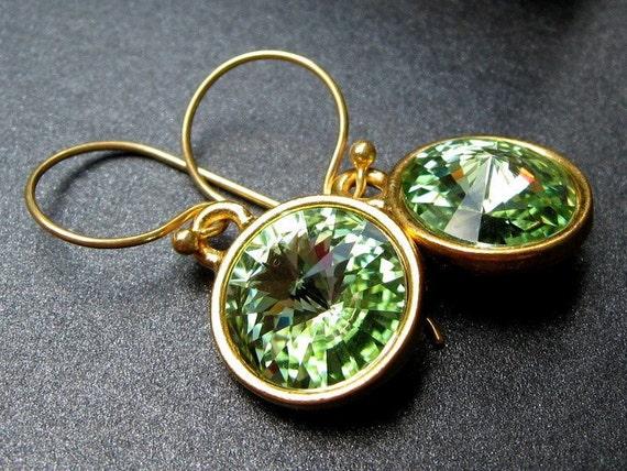 Peridot Earrings, Swarovski Crystal Rivoli Green Jewels, Vermeil Gold Earwires, August Birthstone - Green Ice