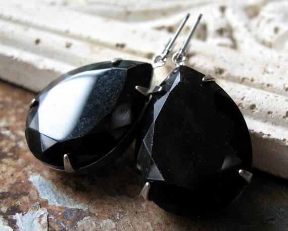 Black Jewel Earrings, Pear Jewels, Teardrop Earrings, Vintage Glass Crystals, Silver Plated Leverbacks