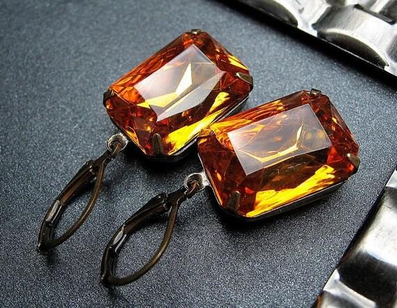 Honey Jewel Earrings, Vintage Glass Amber Vintage Jewels, Antique Brass Leverbacks