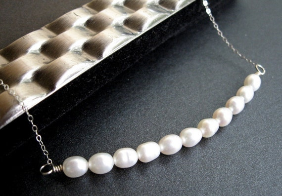 Freshwater Pearl Necklace, Rice Pearls, Cream Pearls, Sterling Silver Chain, Bridesmaid Jewelry - Puff