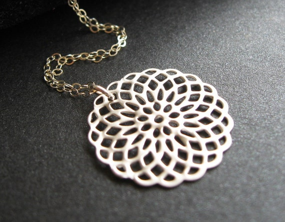 Sterling Silver Necklace, Lace Charm, Filigree Charm, Bridesmaid Necklace - Medallion