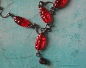 Cherry Drops, Vintage Glass Beads, Beaded Necklace, Sterling Silver, Red Beads