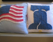 vintage chenille pillow Liberty Bell AMERICANA red white and blue