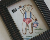 vintage embroidered beach bear in his red white and blue