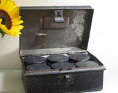 antique metal tea spice box with 6 cannisters
