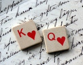 Valentines Day king and queen of hearts vintage game pieces