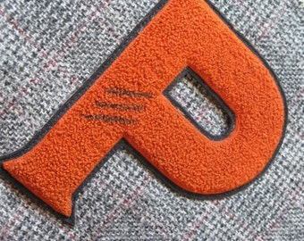 pennant UPCYCLED from vintage grey plaid wool with orange vintage varsity letter P