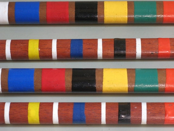 vintage STRIPES 2 pairs of croquet wood stakes