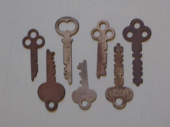 vintage skeleton keys set of 7