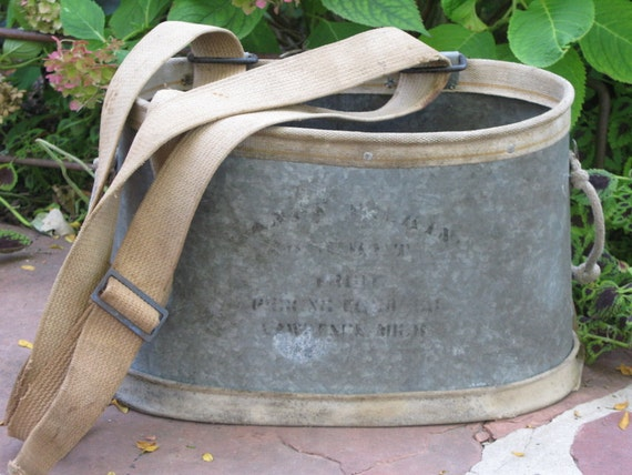 vintage galvanized apple picking bucket with canvas and belting straps