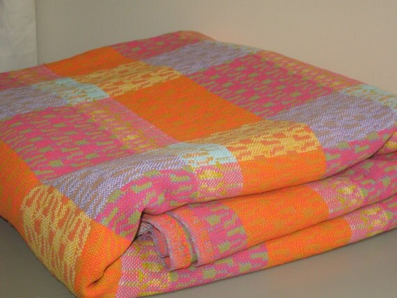 vintage bedspread orange tangerine raspberry pink blue