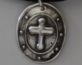 MENS CROSS SHIELD Silver Journey Pendant on Black Braided Leather Necklace