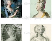 Marie Antoinette- INSTANT DOWNLOAD - 8.5 x 11 inch Printable Digital Collage Sheet - with 35 - 1 Inch Square Images