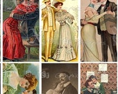 Vintage Romance II - INSTANT DOWNLOAD - 8.5 x 11 inch Printable Digital Collage Sheet  - with 35 - 1 x 2 inch domino size images