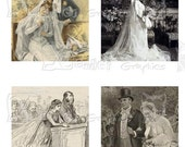 Vintage Wedding - INSTANT DOWNLOAD - 8.5 x 11 inch Printable Digital Collage Sheet - with 42 - 1 Inch Square Images