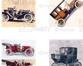 Vintage Automobile - INSTANT DOWNLOAD - 8.5 x 11 inch Printable Digital Collage Sheet - with 35 - 1 Inch Square Images