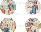Vintage Boy Scout Circles - INSTANT DOWNLOAD -  8.5 x 11 inch Printable Digital Collage Sheet -  with 31 - 1 Inch Circle Images