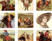 Vintage Wild West - INSTANT DOWNLOAD - 8.5 x 11 inch Printable Digital Collage Sheet - with 48 - 1 Inch Square Images