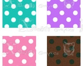 Polka Dot Squares - INSTANT DOWNLOAD -  8.5 x 11 inch Printable Digital Collage Sheet - with 48 - 1 Inch Square Images