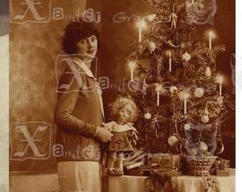 Vintage Black and White/ Sepia Christmas Photos - 8.5 x 11 inch Printable Digital Collage Sheet with eight 2.5 x 4 inch images