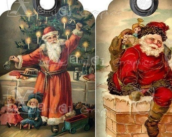 Vintage Santa Claus Holiday TAGs - 8.5 x 11 inch Printable Digital Collage Sheet - with 10 - 3.5 inch x 2 inch Gift TAG Images