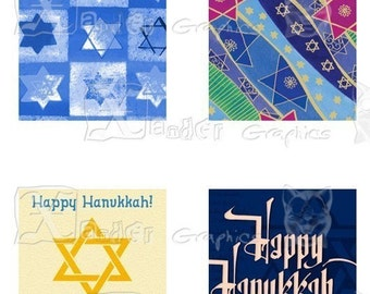 Hanukkah Holiday - INSTANT DOWNLOAD-  8.5 x 11 inch Printable Digital Collage Sheet - with 30 - 1 Inch Square Images