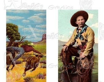 Vintage Wild West Cowboy - INSTANT DOWNLOAD - 8.5 x 11 inch Printable Digital Collage Sheet - with 20 - 1 x 2 inch domino size images